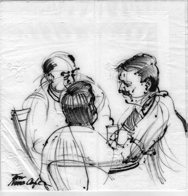 TOM LANGLEY NAPKIN DRAWING-trio men news cafe