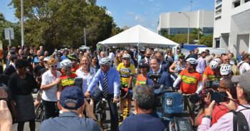 Mayor and dignataries prepare for the inaugural bike ride.