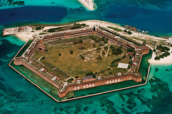 Aerial-Image-of-Fort-Jefferson,-Dry-Tortugas-National-Park